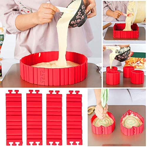 TANSIR Bake Snake, Kuchenformen, Tortenring Verstellbar, Silikon, Backform, Fondant Zubehör, Cake Mould, DIY eine Vielzahl von Formen (rot), 4 pcs