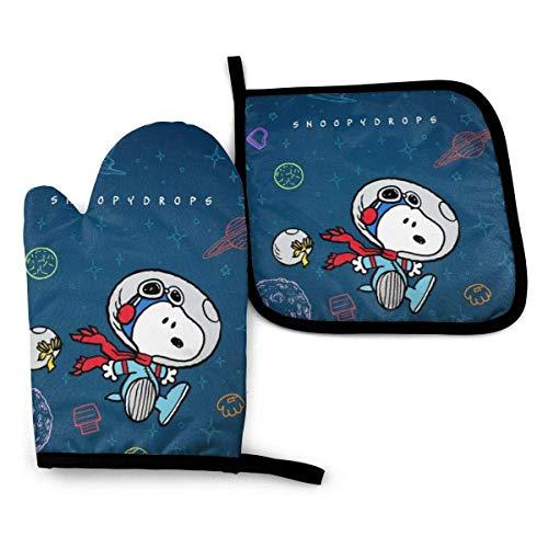 Ofenhandschuhe und Topflappen - Snoopy Drops Hitzebeständiges Küchenkochofenhandschuh- und Topflappen-Set