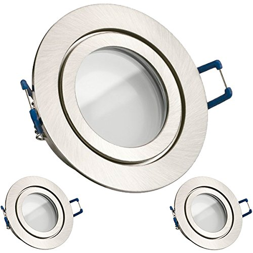 3er IP44 LED Einbaustrahler Set Silber gebürstet mit LED GU10 Markenstrahler von LEDANDO - 5W - warmweiss - 120° Abstrahlwinkel - Feuchtraum / Badezimmer - 35W Ersatz - A+ - LED Spot 5 Watt - Einbauleuchte rund