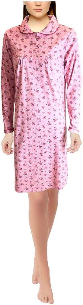 Camicia da Notte Femminile Cotone Colour con Colletto a Maniche Lunghe a 3 Bottoni//Indumenti da Notte Mini kitten