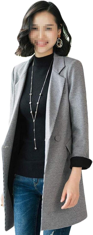 Keaac Women Winter Wool Lapel Button Long Coat Trench Parka Outwear