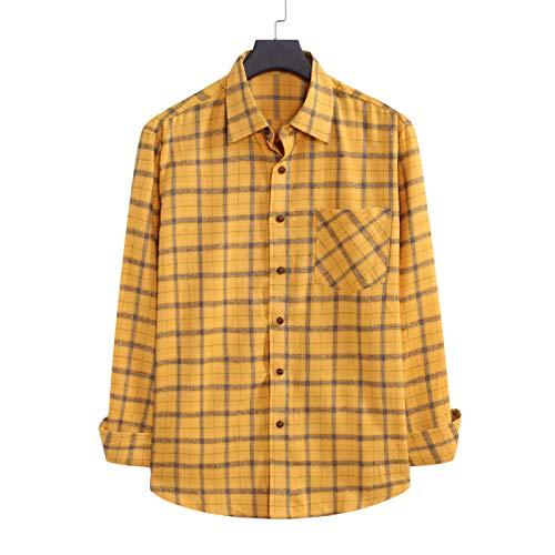 Camisa clásica a Cuadros para Hombre, Camisa Informal de Primavera y Verano con un Solo Bolsillo, Ajuste Holgado, cómoda y Transpirable Small