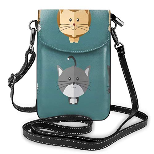 Lawenp Small Animal Doodle Crossbody Phone Purse Small Mini Shoulder Bag Cell Phone Pouch Leather Wallet For Women Girls