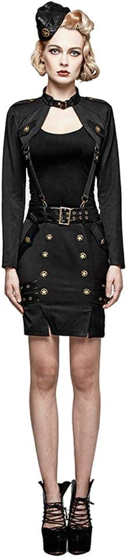 PUNK RAVE Women's Bodycon Short Skirts Military Uniform Pencil Skirts Halloween Cosplay