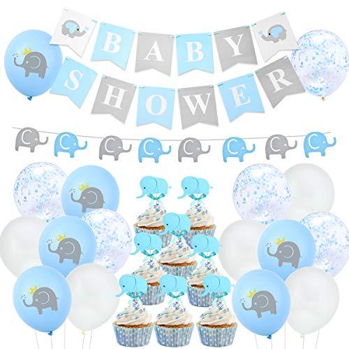 Blue Elephant Baby Shower Decoraciones Boy Elephant Balloons Garland Banner Baby Shower Chicos para Baby Boy Shower Decoraciones