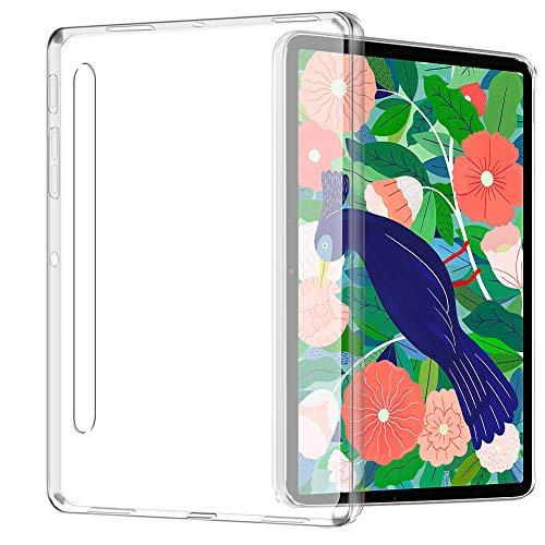 TOPACE - Custodia per Samsung Galaxy Tab S7 Plus, ultra sottile, in silicone TPU, antiurto, anti-impronte, assorbimento degli urti, per Samsung Galaxy Tab S7 Plus (trasparente)