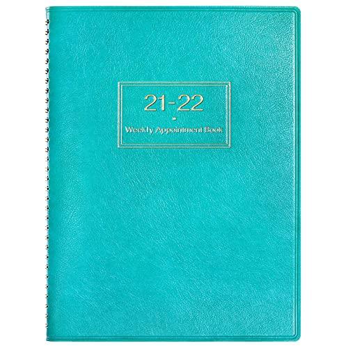 Agenda 2021 2022 con horarios, planificador diario para mostrar el horario en 15 minutos, 21,8 x 29 cm, cubierta de piel suave, color azul