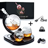 WEEBNG Whiskey Decanter Set,Globe Wine Decanter Set with 2 Glasses,Cleaning Beads,4 Stainless Steel Ice Cubes and Ice Tong,Beverage Drink Liquor Dispenser - Gift Set for Liquor, Scotch,Bourb