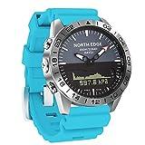 YPSMCYL Reloj De Silicona De Color para Exteriores North Edge Reloj De Buceo De Presión De Altitud Doble Pantalla Impermeable,Blue