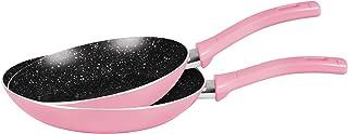 Grandi Cook Pop Fry Pan Set 22-26 Pink and Granite Black