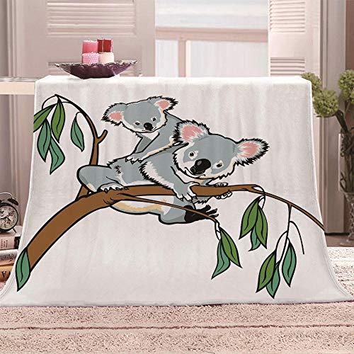 LHUTY Mantas para Sofás de Franela Koala Animal 150x200 cm Manta Estampata 3D Mantas de Sofá de Microfibra para Adultos y Niños,Resistente a Las Arrugas No Pierde Color,Mantas para Cama