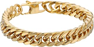 Hermah Heavy Mens Bracelet Chain 316L Stainless Steel Silver Gold Black Color Punk Double Curb Cuban Rombo Link 10/15mm 7-11inch