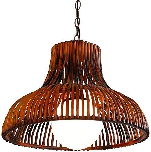 Retro industrie bamboe kunst hanglamp melkwit glazen bol E27 kroonluchter Europese landelijke stijl baardhek plafondlamp gang eettafel decoratieve lamp