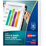Avery 8-Tab Sheet Protector Dividers, Printable Easy Peel Clear Labels, Index Maker, White Tabs, 1 Set (75501)