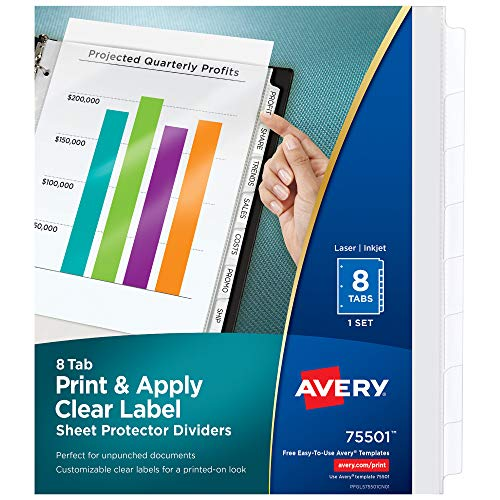 Avery 8-Tab Sheet Protectors Dividers, Printable Easy Peel Clear Labels, Index Maker, White Tabs, 1 Set (75501)