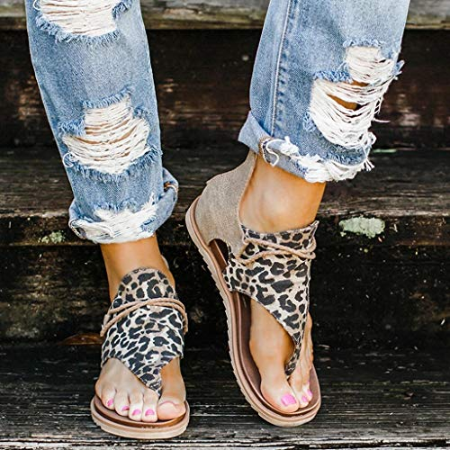 Léopard Sandales-Femmes Gladiator Comfy Sandales, Sandales Plage Femmes, Sandales pour Femme avec séparateur d orteils, Chaussure Mode Nu-Pieds Sandale Claquette