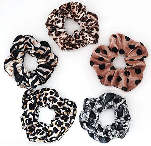 Velvet Scrunchies Cheetah-print Hair Scrunchies Small Soft Fashion Leopard-print Scrunchie Ponytail Holder Hair Ties Elastic Hair Bands Animal-printed Pattern Scrunchy for Women (5pcs)