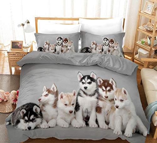 ZLLM Bed Duvet Cover Bedding Set Single For Kids Husky 140X200Cm Home Textiles Children/Adult Bedding Sets Anti-Allergy Warm Comfortable Bedroom Hotel Bedclothes