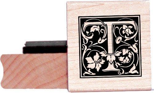 Tampon en caoutchouc alphabet - Lettre T à la William Morris