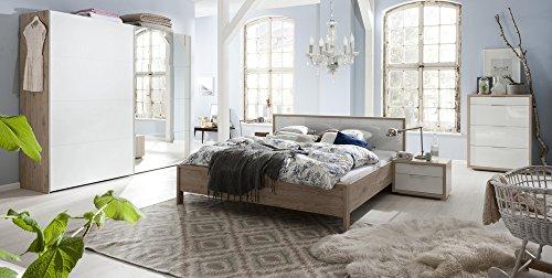 Camera da letto matrimoniale componibile completa color rovere naturale e laccato bianco lucido (armadio con 1 anta a specchio)