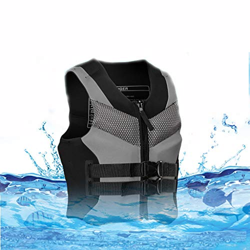 liangfudianzi Professional Adult Life Jacket Swimming Equipment Survival Boat Buoyancy Vest Water Sports Life Jacket and Vest for Surfing, Skiing, Boating, Fishing (Black, XXL)