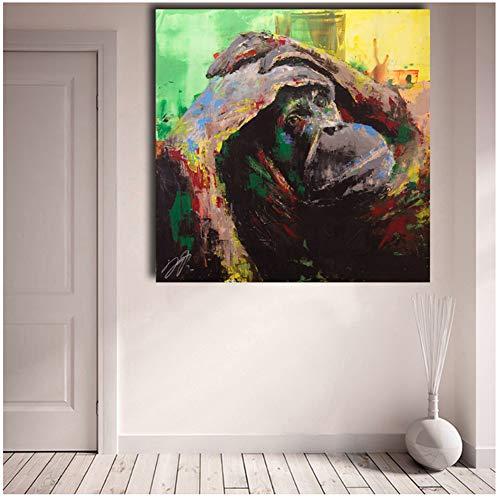 A&D Schimpansen Bild Poster Wandkunst Drucke Bild Tier Ölgemälde Kunstdrucke Wohnkultur Leinwand für Wohnzimmer -50x50cm Kein Rahmen