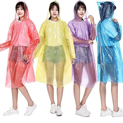 QASIMOF Poncho impermeabile usa e getta, set da 6 pezzi, mantello antipioggia con cappuccio, monouso, per adulti, impermeabile, protezione antipioggia, colori assortiti