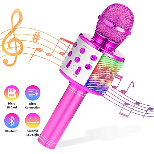 Karaoke Microphone for Kids, 4 in 1 Multifunctional Wireless Bluetooth Microphone for Kids with LED Lights Kids Karaoke Machine Toys for 4-12 Years Old Boys Girls Best Gifts Kids Microphone Purple