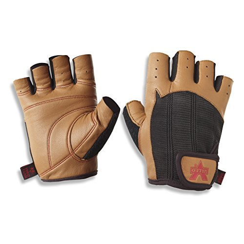 Valeo Padded Ocelot Lifting Gloves, Gym Gloves, Workout Gloves, Exercise Gloves for Powerlifting, Cross Training, Rowing for Men & Women, L (Fits 9 - 10 inches), Brown