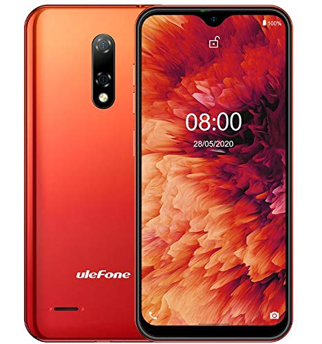 Android 10 4G Mobile Phone Ulefone NOTE 8P, 5.5'' Waterdrop Screen SIM Free Smartphone Unlocked, Quad Core 2GB+16GB, DUAL SIM + SD (3 Card Slot), Face Unlock, 8MP+2MP+5MP Triple Camera, GPS - Red