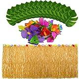 baotongle Falda de mesa hawaiana Luau con hojas de palma artificiales, flores tropicales, jardín, playa, verano, decoración para fiestas