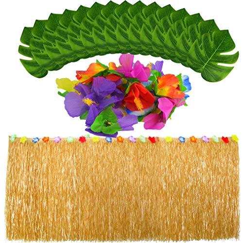 baotongle Hawaii Luau Tischröcke mit Künstliche Palmenblätter Tropischen Blumen Garten Strand Sommer Tiki Party Dekoration