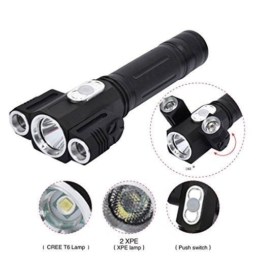 GRH lampe de poche rechargeable 360 lumen xml t6 + 2Q5 torche torche Lanterna 18650 Flash Light Camping Hunting Portable Light