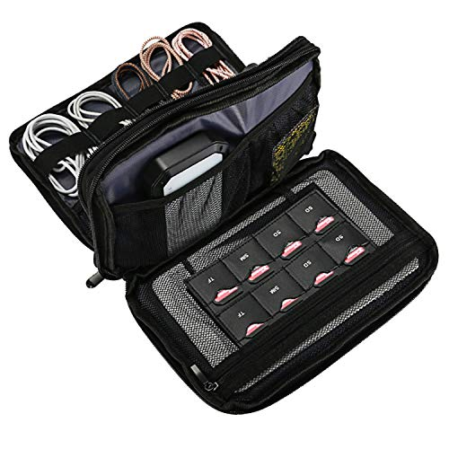 ProCase Travel Gadget Organizer Bag, Portable Tech Gear Electronics Accessories Storage Carrying Pouch for Cords USB Cables SD Cards MP3 Player Hard Drive Power Bank -Black