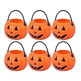 8 Halloween Süßigkeiten-Halter, kleine tragbare Kürbis-Eimer für Kinder