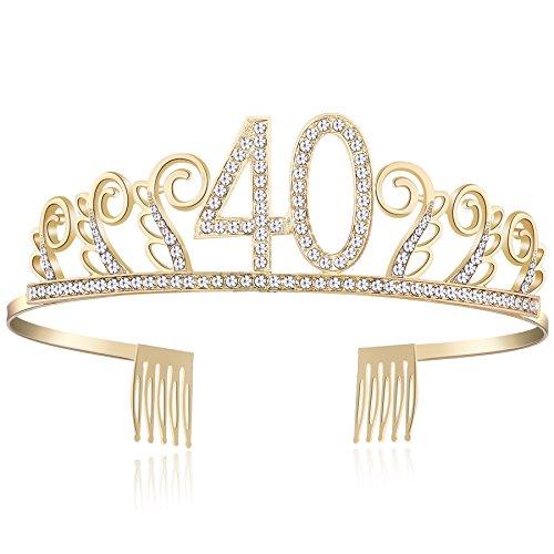 BABEYOND Kristall Geburtstag Tiara Birthday Crown Prinzessin Geburtstag Krone Haar-Zusätze Rosa oder Silber Diamante Glücklicher 18/20/21/30/40/50/60/90 Geburtstag (40 Jahre alt Gold)