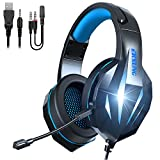 TYUOBOX Gaming Headset with Microphone for PS4, Xbox One, PC, Headphones with Mic,Noise Cancelling Microphone, LED Light, Bass Surround for Playstation Nintendo PS3 Games (Black Blue)