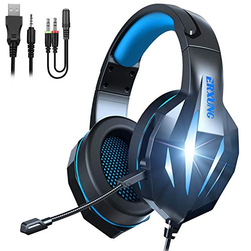 TYUOBOX Gaming Headset with Microphone for PS4, Xbox One, PC, Over Ear Headphones with Mic, Wire, Noise Cancelling LED Light, Bass Surround for Playstation Nintendo PS3 Games (Black Blue)