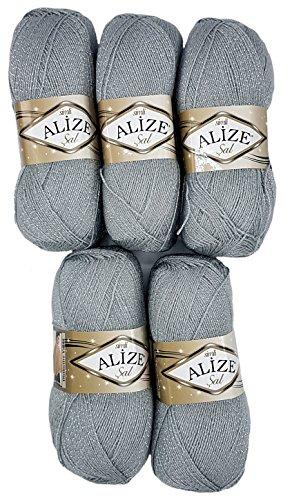 Alize 5 x 100 g Glitzerwolle SAL zum Stricken und Häkeln, 500 Gramm Metallic – Wolle (grau 21)