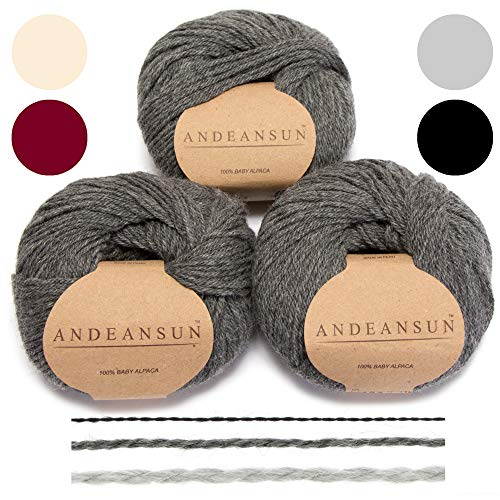 (Set of 3) 100% Baby Alpaca Yarn DK #3 (150 Grams Total) Luxuriously Cozy and Caring Soft to Enjoy Knitting, Crocheting and Weaving - Gorgeous Twist and Stitch Definition (Medium Grey)