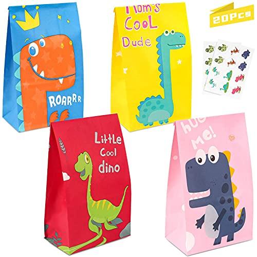 Geschenktüten Dino, 20pcs Dinosaurier Papiertüten, Tüten Papier Geschenktüten, Bunt Candy Tüten, Süssigkeiten Beutel für Kindergeburtstag Dinosparty, Weihnachten, Hochzeit Papiertasche