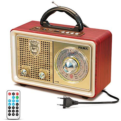 Radio portátil Vintage Am/FM/SW, Altavoz Retro Bluetooth con Control Remoto, Altavoz Incorporado de 3 W, Entrada USB y AUX, Reproductor de MP3 con Tarjeta Micro-SD, por PRUNUS (Oro)