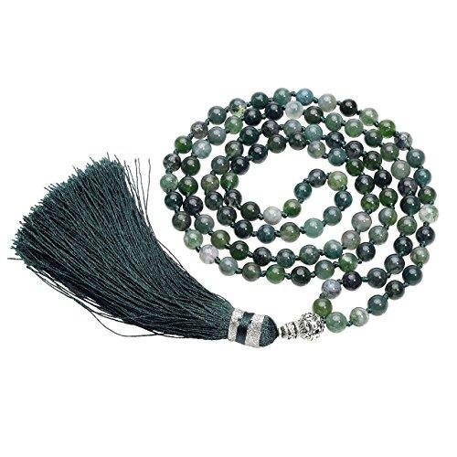 CrystalTears 108 Perlen Edelstein Yoga Armband Wickelarmband Om mani Padme hum Buddha Gebetskette Healing Reiki Stein Mala Kette Halskette mit Quaste...