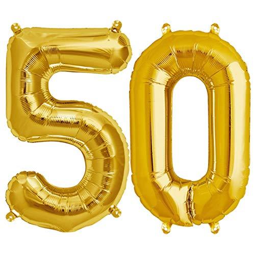 FUNXGO XXL Folienballon Zahl [ca.100cm], Geeignet für Geburtstage Überraschungsparties Hochzeiten Jubiläen Einweihungen Einstände Abschlüsse und Feste (Gold[50])