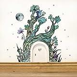 ilka parey wandtattoo-welt Elfentür Feentür Wichteltür mit Wandtattoo Aufkleber Sticker Baum im Zauberwald mit Elfe Mond und Punkten e06 - ausgewählte Farbe der Holztür: *weiß*