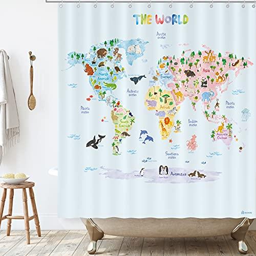 BASHOM BSC615 Animall Weltkarte Duschvorhang Set für Kinder Wasserdichtes waschbares dekoratives Badezimmer 180x180cm (71