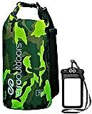 Erro al aire libre camuflaje impermeable bolsa seca y teléfono móvil impermeable para kayak, Pesca, Camping, Verde (Green Camo)