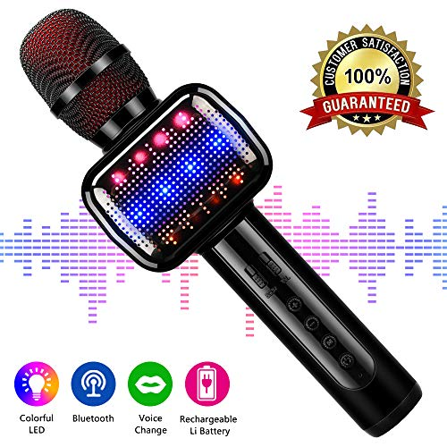 Leeron Karaoke Microphone, Microphone for Kids Wireless Bluetooth Portable Handheld Karaoke Machine for Party Home Birthday Christmas Gifts and Toys for Boys Girls Age 12 15(Black)
