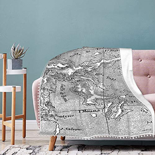 Alysai French Map Diagram of The Island Sulawesi Mediterranean Christmas Holiday Throw Blanket Warm Throws for Winter Bedding,Couch,Sofa and Gift 60'x50'