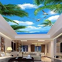 カスタム3D写真壁紙青空海ココナッツの木海鳥リビングルーム吊り天井壁壁画壁紙3D-130x60cm